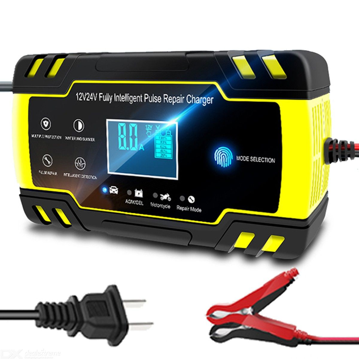 12V-24V 8A Full Auto Car Battery Charger Power Pulse Repair Chargers Wet Dry Lead Acid Battery-chargers - EU Plug