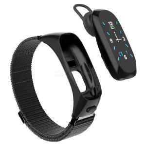 DMDG Smart Bracelet Detachable Bluetooth Headset with Steel Band, Support Heart Rate Monitor / Pedometer / Hands-Free Call