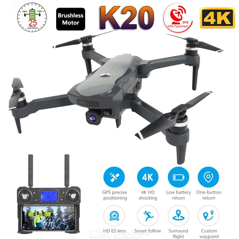 K20 RC Drone With 4K Camera Dual GPS One-Key Return Headless Mode Follow Me Circle Fly