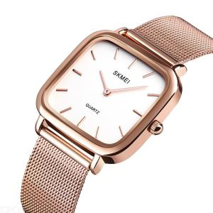 SKMEI 1555 Simple Square Dial Women Quartz Wristwatch With Stainless Steel Band For Lady