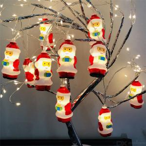 Fairy Lights 20 LED Santa Claus String Lights Battery Operated Decorative Lights Warm White For Christmas Tree Home Office Party