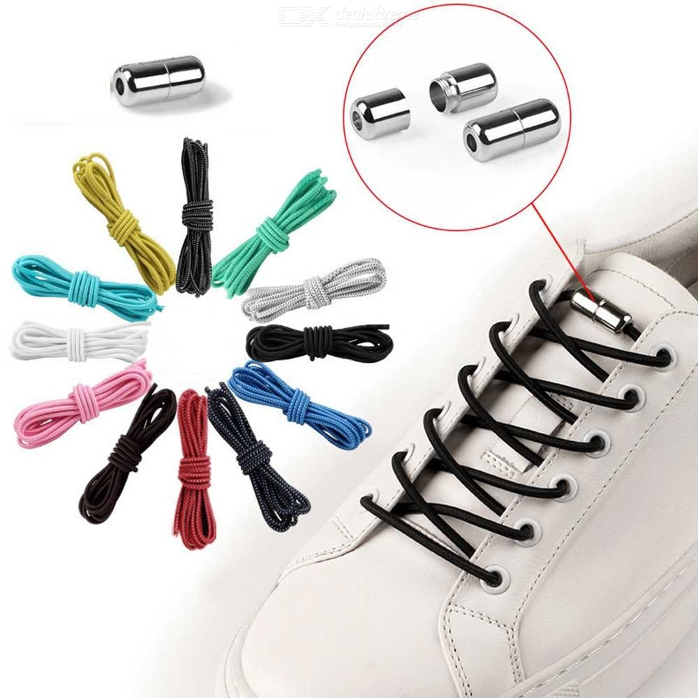 1 Pair No Tie Shoelaces Round Elastic Shoe Laces For Kids Adults Sneakers 15 Col