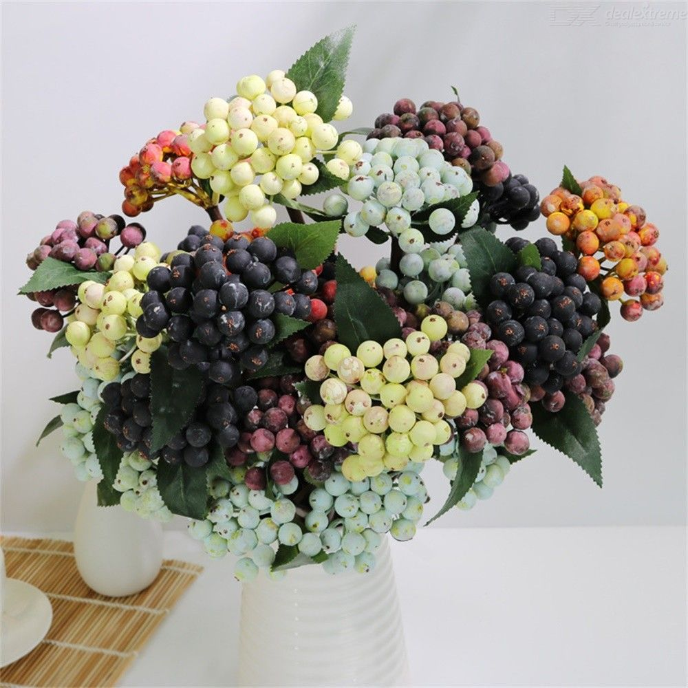 1PC Artificial Pip Berries With Stem DIY Wreath Simulated Berry Fake Foam Fruits For Wedding Festival Party Home Decoration