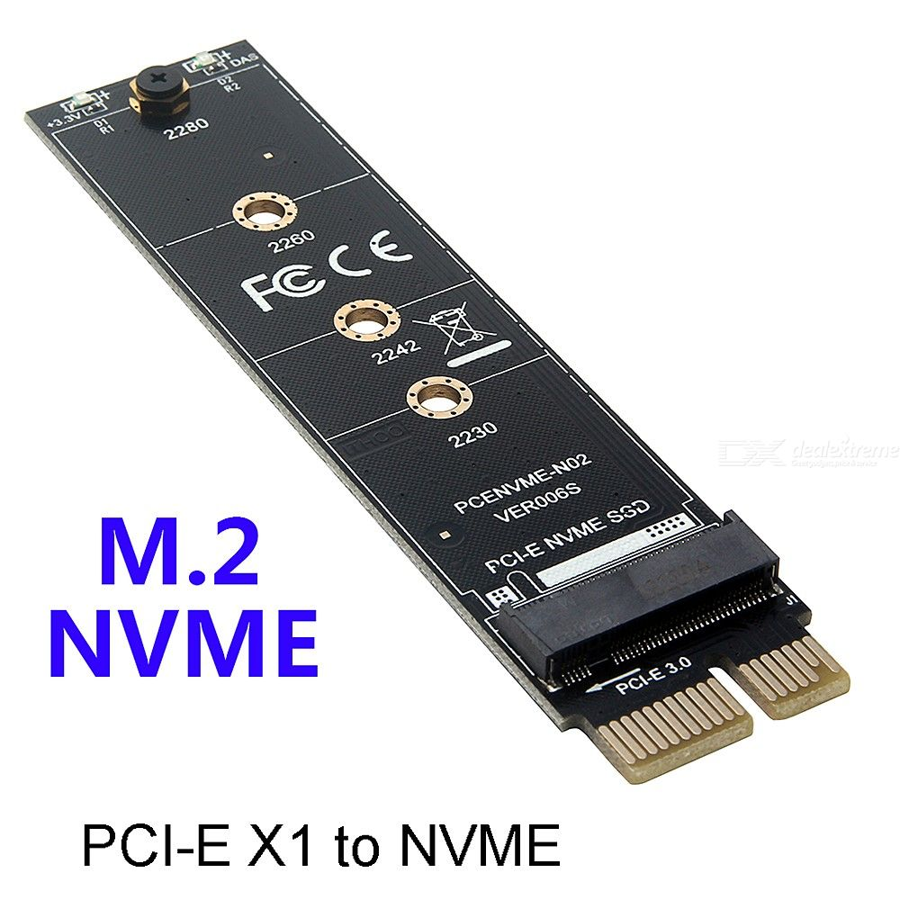 M.2 NVMe SSD TO PCIE 3.0 X1 Adapter M Key Interface Card Test Card