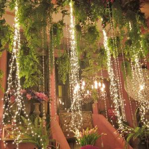 Fairy Lights 200 LED 2m 10-Branch Solar Powered Lights String With Copper Wire For Christmas Tree Party Wedding Events Garden