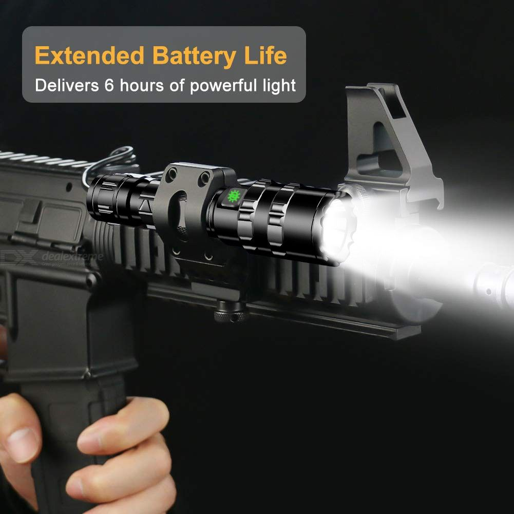 Waterproof LED Tactical Flashlight, Super Bright USB Rechargeable 5-Mode Torch Hunting Light (No Battery)