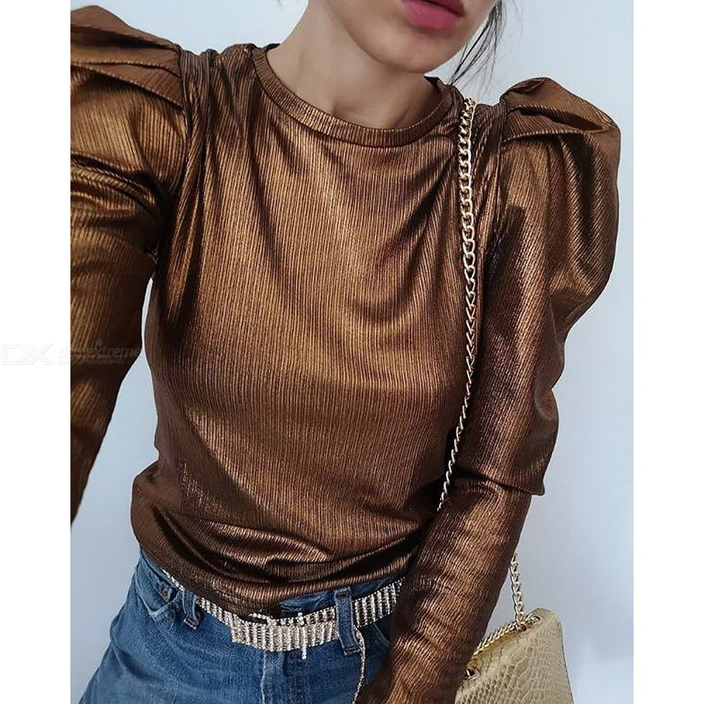 Casual Female Puff Sleeve Blouse All-match O-neck Womens Tops