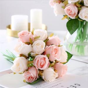12 Rose Artificial Bridal Bouquet Flowers Holding Silk Rose For Wedding Home Decoration