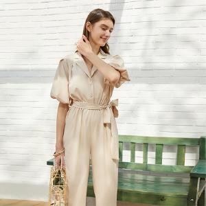 Womens Wide Leg Belted Waist Elbow Sleeve Beige Jumpsuits Rompers