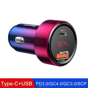 Baseus Car Charger 45W Car Power Plug With Type C USB Ports Voltage Meter