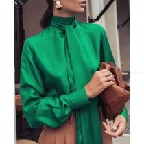 Casual Female Long Sleeve Blouse Solid Color Turtleneck Womens Tops