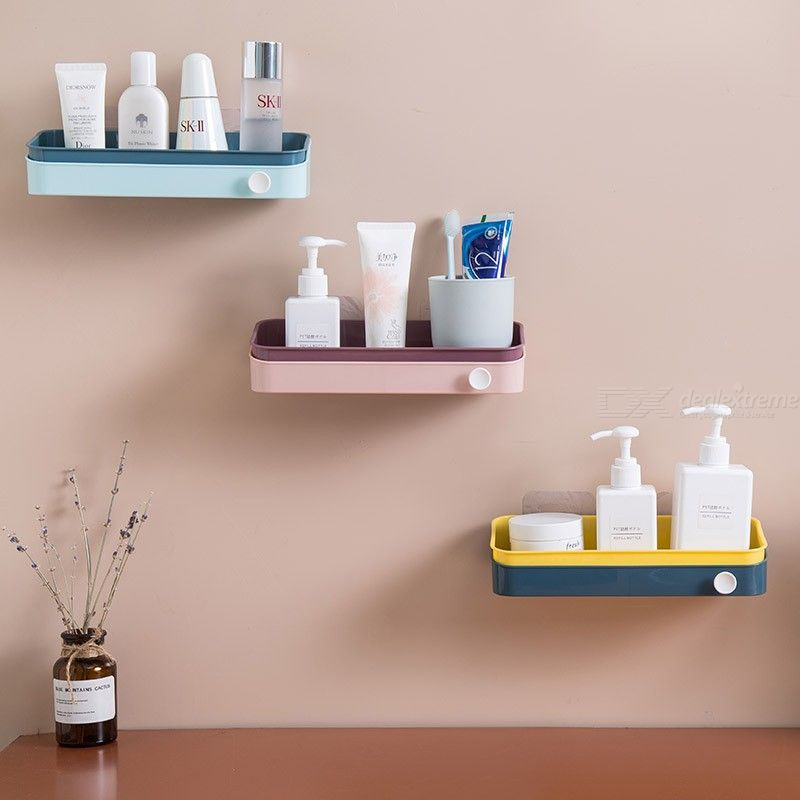 Bathroom Floating Wall Organizer For Kitchen Powerful Suction Cup Wall Mounted Shelf Storage