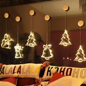 LED Christmas Lights Battery Operated Hanging Christmas Lights With Suction Cup For Home Office Show Window Decoration