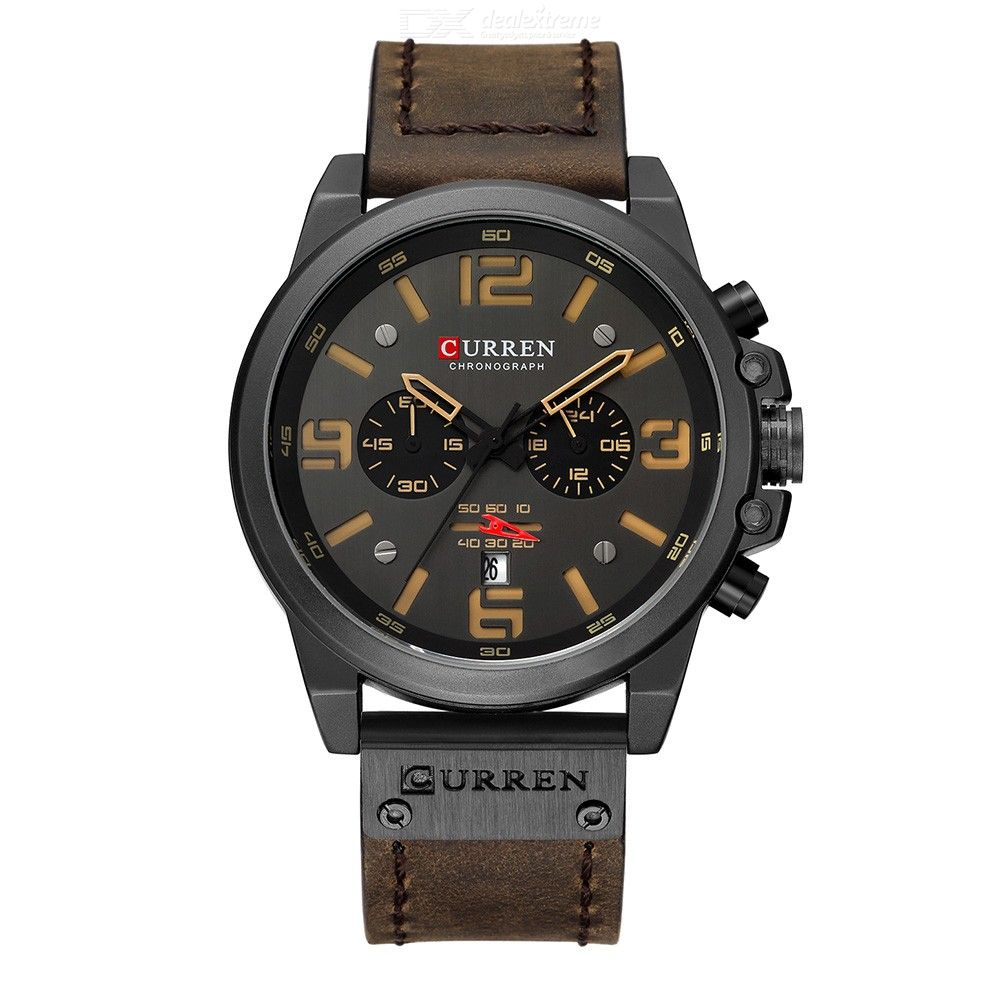 CURREN 8314 Male Calendar Watch Casual Leather Strap Quartz Wristwatch