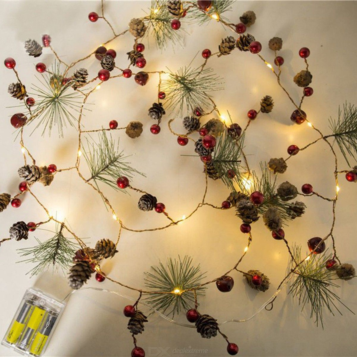 2m LED Strip Lights Pine Cone Cherry Decor Home Christmas LED String Light Battery Powered - from $9.49