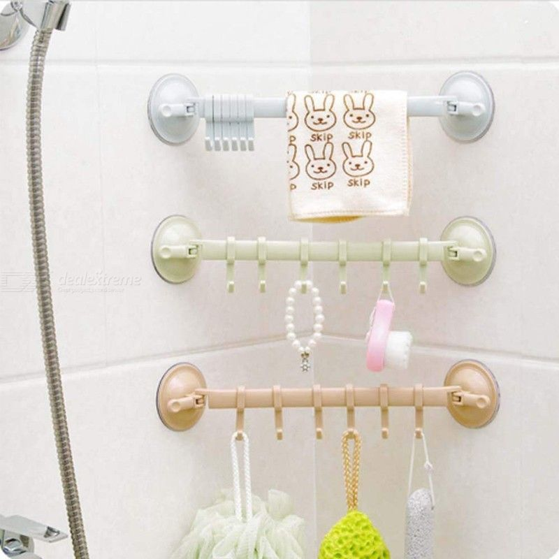 6 Hook Organizer Rack Stick-On Bathroom Kitchen Organizer With Strong Suction Cups