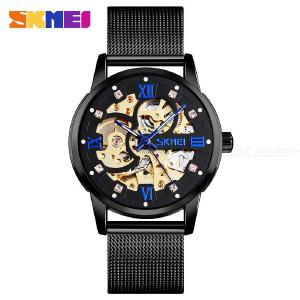 SKMEI 9199 Automatic Self-Wind Mechanical Watch For Men, Waterproof Stainless Steel Mesh Band Round Dial Wristwatch