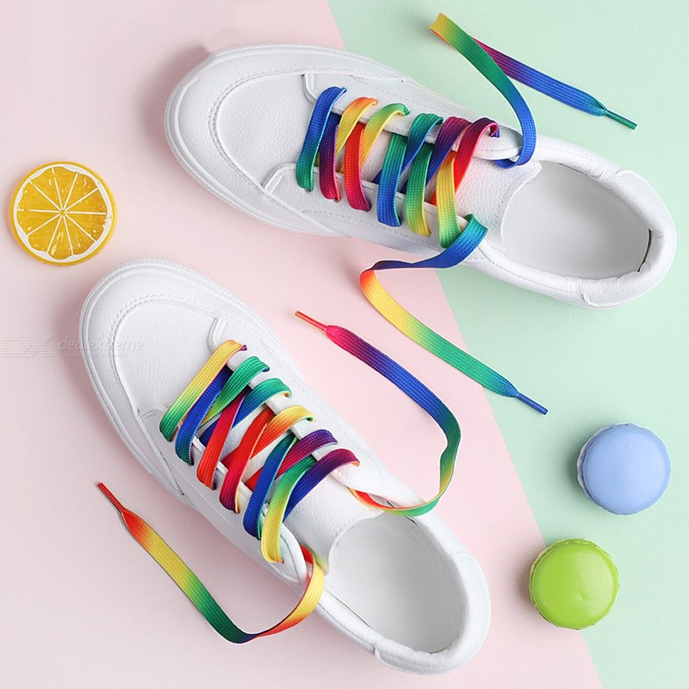 Rainbow Flat Shoelaces Coloured Wide Shoelaces 1 Pair For Sneakers Canvas Sport