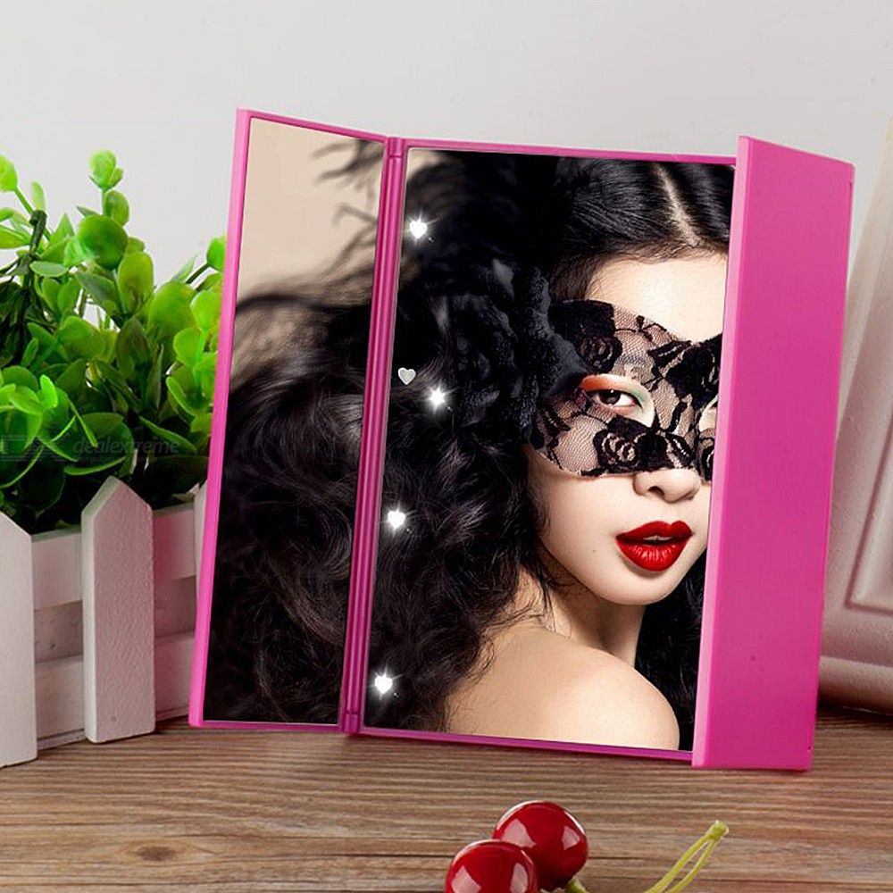 Portable Makeup Mirror With Lights 8 LED Trifold Stand Vanity Mirror