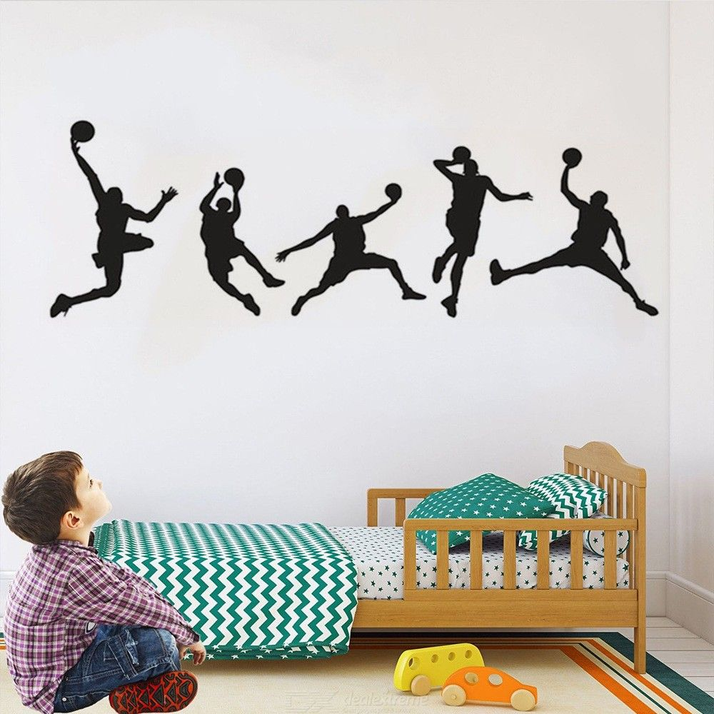 Basketball Slam Dunk Silhouette Wall Decal, Sport Player Vinyl Wall Sticker For Boys Teens Living Room Bedroom Decoration
