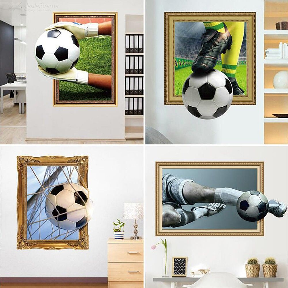 3D Soccer Ball Football Decorative Vinyl Wall Sticker Decals For Living Room Kids Boys Bedroom Decoration