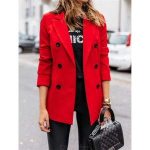 Double Breasted Notched Lapel Blazer Work Office Jacket Winter Solid Color Long Sleeve Coat Outerwear For Women