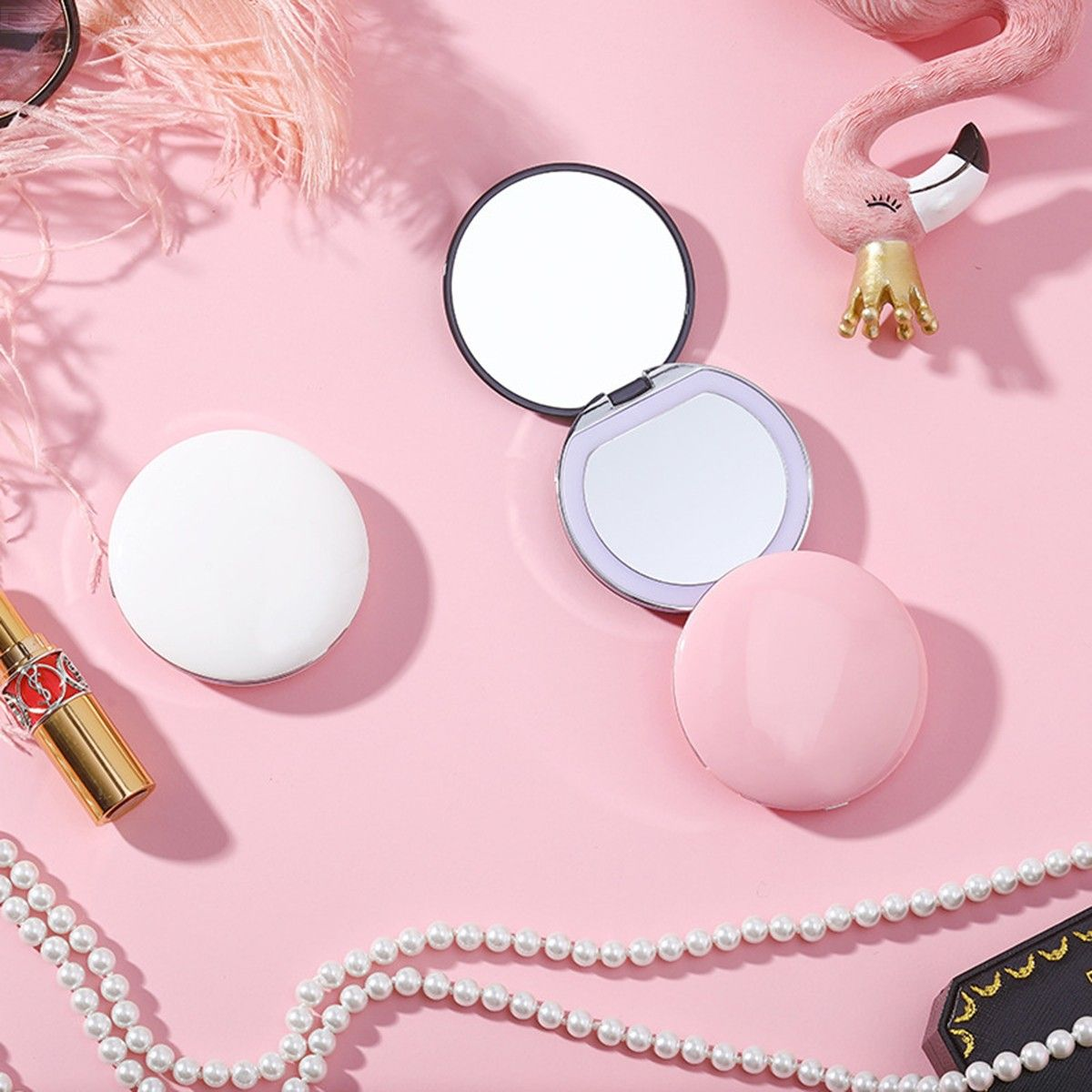 Mini Portable USB Rechargeable LED Makeup Mirror With Light For Travel