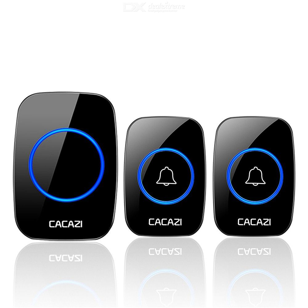 CACAZI A10 Wireless Doorbell Waterproof Battery Button US EU UK AU Plug Receiver 300M Remote LED Light Home Door Bell 60 Chimes