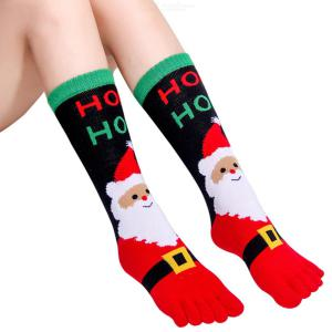 1 Pair Women Christmas Holiday Stretchy Five Toes Socks, Warm Winter Casual Crew Socks