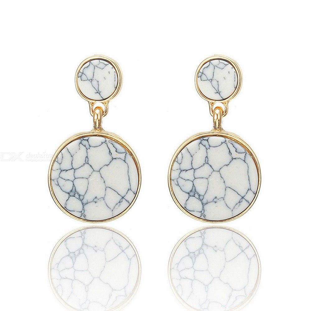 Creative All-match Dangle Earrings With Artificial Marble Pattern Fashion Womens Jewelry
