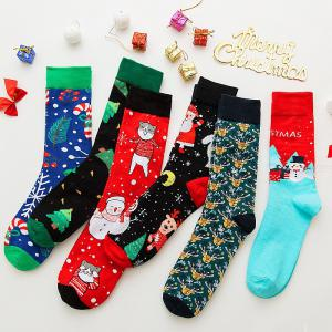 1 Pair Christmas Colorful Santa Claus Elk Print Cozy Cotton Crew Knee Socks For Men
