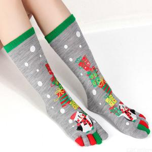 1 Pair Women Christmas Holiday Stretchy Five Toes Socks Winter Warm Crew Socks