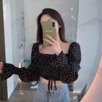 Floral Chiffon Square Neck Crop Top Short Shirred Blouse Sexy Long Sleeve Tops For Women