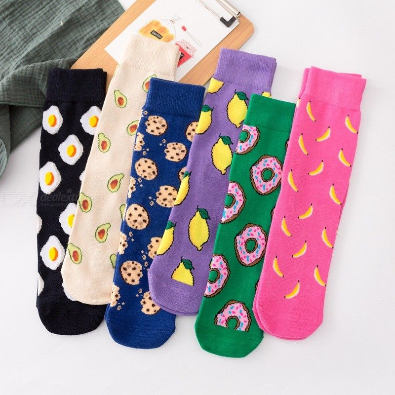 Cotton Socks Street Style Fashionable All-Match Soft Breathable Printed Crew Socks For Men Women