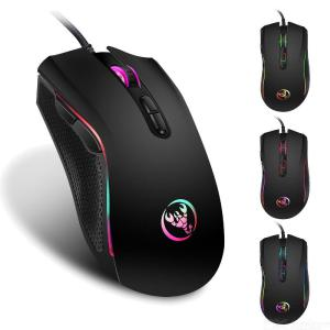 HXSJ A869 3200DPI RGB Backlit Gaming Mouse Wired Optical USB 7 Buttons Mice - Black