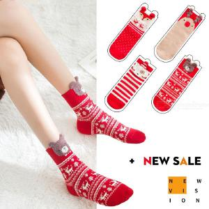 4 Pairs Cute Cartoon Christmas Print Cotton Crew Socks For Girls Women Holiday Gift