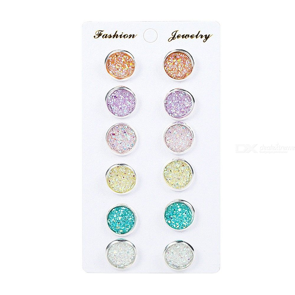 6 Pairs/Pack Colorful Glitter Round Ear Stud Pierced Earrings Set For Girls Women