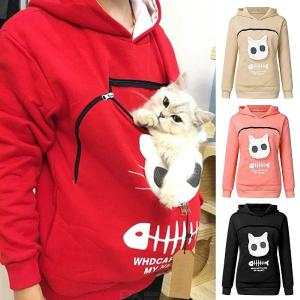 Pet Lovers Pullover Hoodie Kitten Puppy Holder Animal Pouch Sweatshirt Autumn Long Sleeve Tops