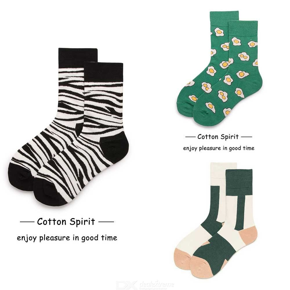 Men's Cotton Socks Spring Autumn Street Style Fashionable All-Match Soft Breathable Printed Crew Socks