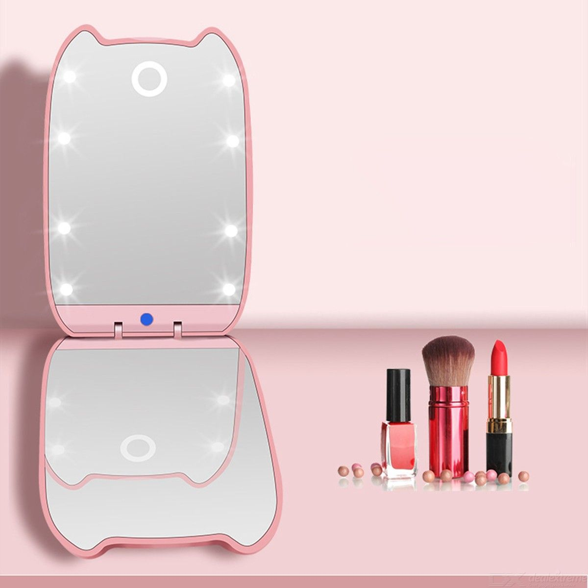 Lighted Travel Makeup Mirror Daylight LED 1 X /2X Magnification