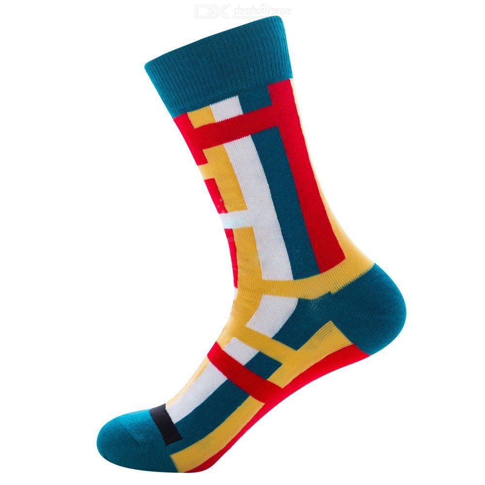 Cotton Socks Fashionable All-Match Soft Breathable Color-Contrasted Crew Socks For Men Sized 38-45