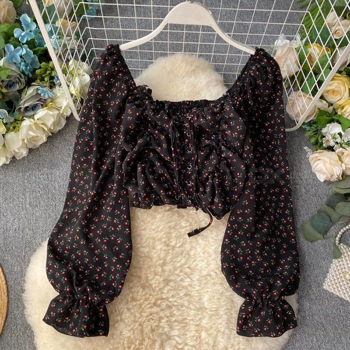 Women Chic Puff Sleeve Off Shoulder Floral Crop Top Front Tie Chiffon Blouse Shirt