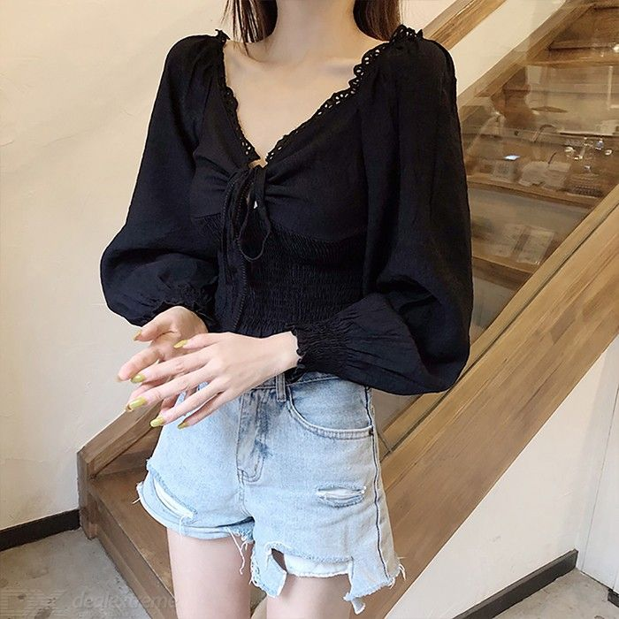 Women Casual Puff Sleeve V Neck Crop Top Hollow-Out Tie Up Front Blouse Shirt