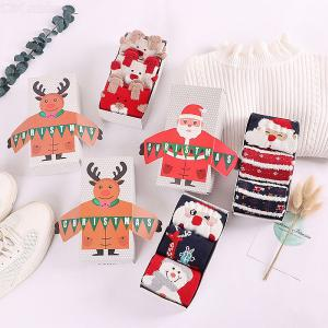 3 Pairs Christmas Socks Gift Set Autumn Winter Fashionable Cute Soft Breathable Printed Cotton Crew Socks For Women