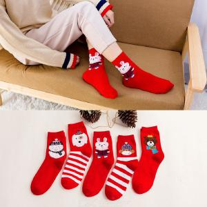 Cotton Crew Socks Autumn Winter Fashionable Cute Soft Breathable Printed Christmas Socks For Women