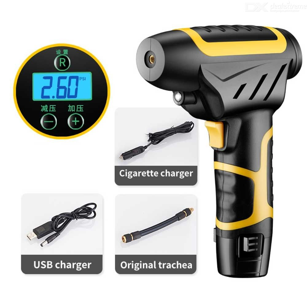 Electric Air Compressor Tire Inflator Cordless Handheld Air Pump With Power Display And Detachable Rechargeable Battery