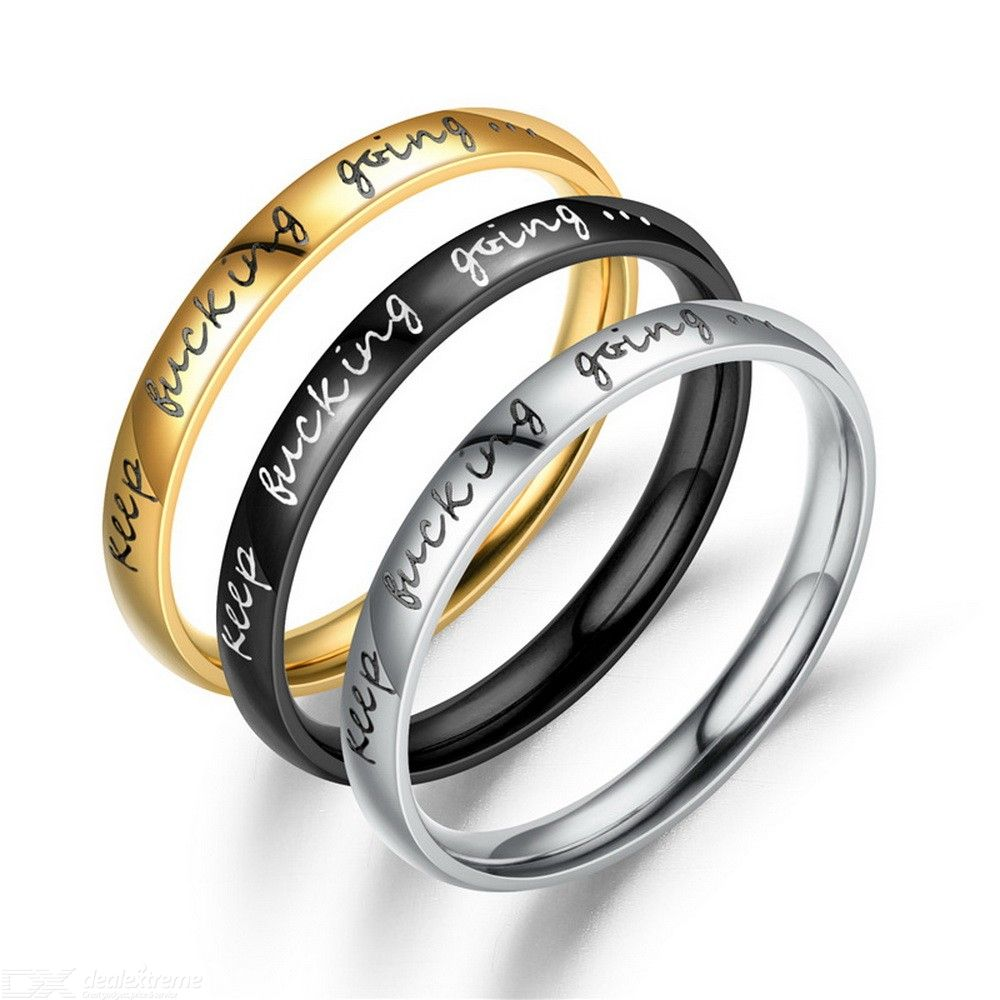 Stainless Steel Stackable Keep Fucking Going Inspirational Graduation Ring For Men Women