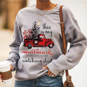 Womens Christmas Sweatshirt Fashionable Warm Round Neck Printed Pullovers