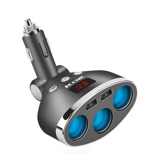 Cigarette Lighter Sockets Dual USB Car Charger Power Supply Device - Gray