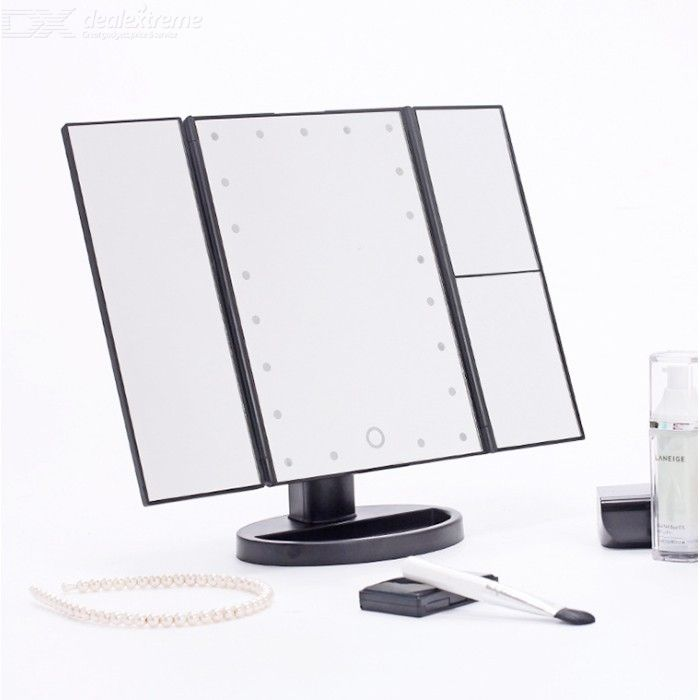 Lighted Vanity Mirror Trifold 22LED Makeup Mirror With 2X/3X Magnification 180-Degree Rotation Range